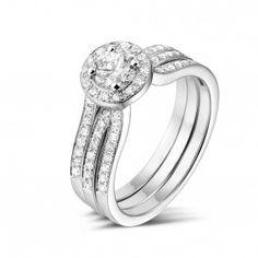 - 0.50 caraat diamanten solitaire ring in wit goud met zijdiamanten