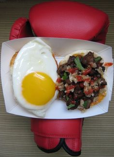 Sisig sandwich from the Manila Machine Filipino food truck in LA.