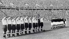 The English football team give the Nazi salute in front of 110,000 spectators, including Goering, Hess and Goebbels, ahead of their game against Germany at the Olympiastadion, Berlin. May, 1938 .