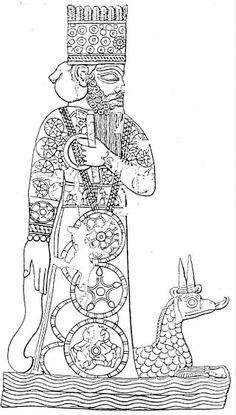 Marduk and his dragon Mušḫuššu, from a Babylonian cylinder seal.