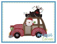 INSTANT DOWNLOAD Car Santa with Reindeer applique design in digital format for embroidery machine by Applique Corner