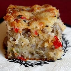 Southern Sausage Cake- a new idea for bake ahead brunch & breakfasts. Zap a square from the freezer for breakfast on the go.