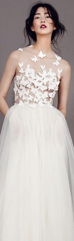 kaviar gauche couture bridal 2015 papillon d amour sleeveless pretty wedding dress illusion bodice with butterfly motifs #weddingdress #weddingdresses