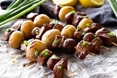Steak & Potato Kebabs Recipe ~ Tender, Juicy Marinated Steak and Button Mushrooms with Yukon Gold Potatoes Served on a Kebab and Grilled to Perfection! Outdoor Cooking Recipes, Grilling Recipes, Grilling Ideas, Kabob Recipes, Beef Recipes, Clean Recipes, Grilled Steak Recipes, Marinated Steak
