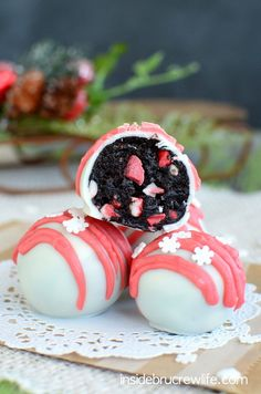 Peppermint Crunch Oreo Truffles Recipe ~ Oreo truffles get a fun holiday twist when Andes peppermint crunch pieces are added.