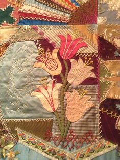 Victorian crazy quilt by Elizabeth Parkhurst Williams.  CQ Vintage, tulip, silk