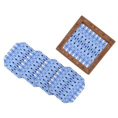 Amy Sia Ikat Blue Coaster Set | DENY Designs Home Accessories