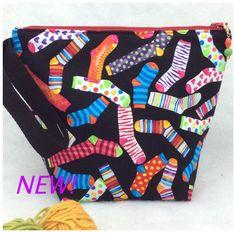 Knitting Project Bag, Knitting Tote, Sock Knitting Bag, Crochet Project Bag, WIP Bag, Yarn Bag by AprilNineDesigns on Etsy