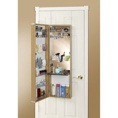 High Quality Over The Door Mirror Makeup Vanity Armoire (White), Size Large