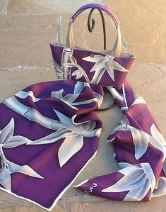Hand painted silk scarf and matching bag (bamboo collection - silver & purple) special commission. The perfect accessories to wear on a wedding with a plain basic silver/grey dress.
