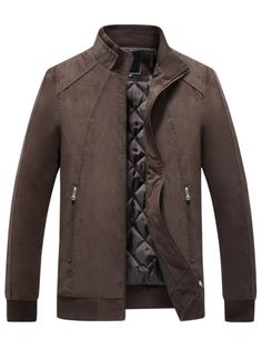 Stand Collar Men's Shearling Coat with Solid Color Mens Winter Coat, Winter Jackets, Mens Shearling Coat, Steve Mcqueen Style, Blazers, Sports Jacket, Sweater Coats, Mens Clothing Styles, Mens Suits