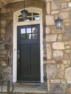 Amazing Home With Double Front Doors: Traditional Entry Classic Home With  Dark Wood Double Front Door Rock Base And Dark Shutters ~ cienmaneras.com