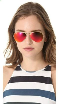 4f9d29ac10 Ray-Ban MIrrored Matte Classic Aviator Sunglasses in Matte Gold Red Mirror   Shopbop