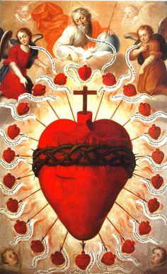 The Feast of the Sacred Heart of Jesus, 1747 by Fray Miguel de Herrera Catholic Art, Religious Art, Jesus E Maria, Vintage Holy Cards, Colonial Art, Religion, Spiritus, Heart Of Jesus, Holy Mary