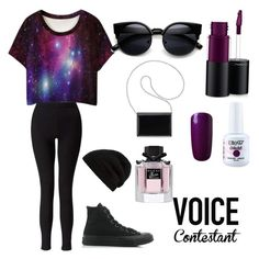 """The voice challenge"" by flynia9 on Polyvore featuring WithChic, Miss Selfridge, Converse, MAC Cosmetics, Nine West, Rick Owens, Gucci, thevoice and YahooView"
