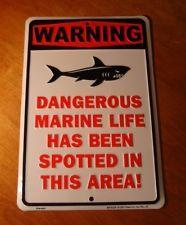 SHARK WARNING Tin Sign Surfing Beach Surfboard Surfer Beach Home Tiki Bar Decor