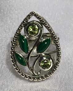 Malachite & Peridot Sterling Silver Ring