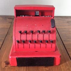 Vintage 1940s Tin/Metal Red Cash Register Possibly Tom Thumb Toy Children's Pretend Play Mid Century by Piklandia on Etsy