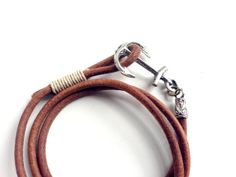Leather Anchor Bracelet with Natural Brown Soft by RUSTICBRAND, $22.95