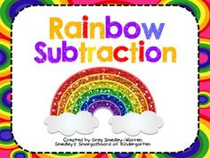 FREE! Rainbow subtraction activity for kindergarten! Perfect for math centers and math tubs. Just add markers!