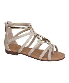 This Link Beige & Gold Gladiator Sandal by Link is perfect! #zulilyfinds