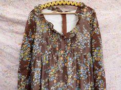 1970's Angela Gore 70's Vintage brown floral dress Gauze sheer boho hippie Wedding maxi dress long sleeve granny skirt large size by DragonflyVTG on Etsy