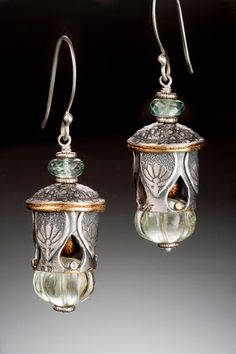 I love these! Original Pierced Lantern Earrings, crafted in silver and 24k gold, with green amethysts melons, moss aquamarine, and golden coral interiors Nisa Jewelry   Collections
