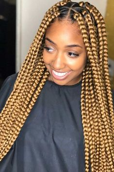 Gold Box Braids # jumbo box Braids with accessories Box Braid Styling Id. - Gold Box Braids # jumbo box Braids with accessories Box Braid Styling Ideas For Most Exquis - Large Box Braids, Short Box Braids, Blonde Box Braids, Jumbo Box Braids, Black Girl Braids, Braids For Black Hair, Girls Braids, Chunky Box Braids, Short Hair