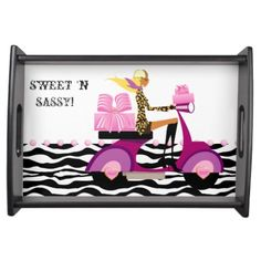 Zebra Bakery Box Gift Scooter Girl Sweet Sixteen Food Trays $50.95!!