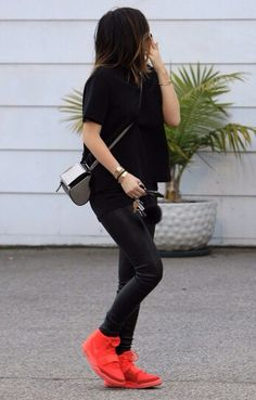 Those shoes are way too bulky but I like the idea of all black with a bright shoe for fall.