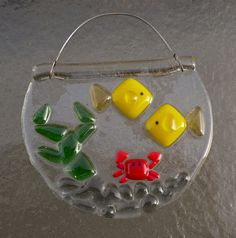 Fused Glass Mini Fish Bowl Suncatcher by CotterpinCrafts on Etsy, $12.00