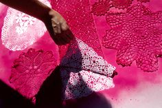 Lace + spray paint = awesome wedding decor | Offbeat Bride