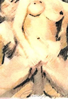 """""""Nus 4"""" - Aquarela e lápis-de-cor. Projeto """"Delta Z"""". Setembro 2004. Arte Erótica."""