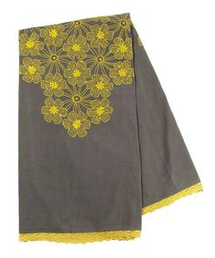 Love this Gray & Yellow Lace Embroidered Throw on #zulily! #zulilyfinds