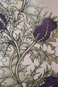 Print Wallpaper, Cool Wallpaper, Botanical Illustration, Botanical Prints, Thistle Wallpaper, Timorous Beasties, Motif Floral, Art Projects, Welding Projects