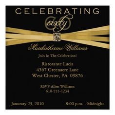 Custom Black & Gold Birthday Party Invitations created by NightSweatsDiva. This invitation design is available on many paper types and is completely custom printed. Made in 24 hours. 60th Birthday Party Invitations, 90th Birthday Parties, Birthday Invitation Templates, Invitation Cards, Invites, Birthday Ideas, Invitation Ideas, Birthday Gifts, Invitation Wording