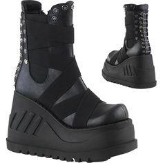507a4b18ca4e Women s Demonia Stomp-25 Platform Wedge Mid-Calf Boot Black