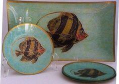 Angle Fish Hand-signed Decoupage Plates.