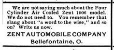 1905-1906 Zent Automobile Co. Magazine Ad