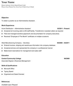 It Sample Resume Format Chronological Resume Template 2  The Resume Info  Pinterest .
