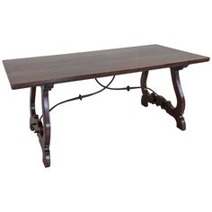 Solid Walnut Hand-Carved 19th Century Spanish Renaissance Dining Table | From a unique collection of antique and modern dining room tables at https://www.1stdibs.com/furniture/tables/dining-room-tables/
