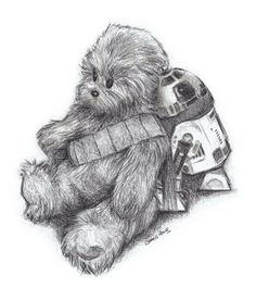 Chewbacca and R2D2 by James Hance