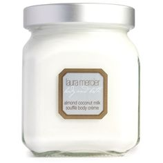 Laura Mercier  Almond Coconut Milk Soufflé Body Crème (€49) ❤ liked on Polyvore featuring beauty products, bath & body products, body moisturizers, beauty, fillers, makeup, beaut, cosmetics, almond coconut milk and laura mercier