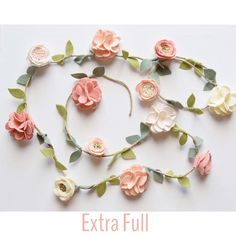 Your place to buy and sell all things handmade Rose Garland, Felt Garland, Flower Garlands, Beaded Garland, Felt Flowers, Fabric Flowers, Pom Pom Animals, Bunting Banner, Bunting Ideas