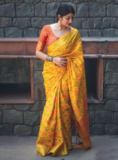 Yellow Silk Festival Wear Saree 127509