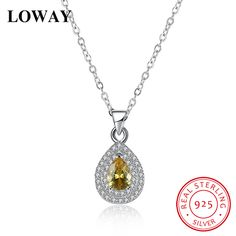 Charm Necklace 925 Silver Water Drop Pendant Necklace with Yellow Zirconia //Price: $25.99 & FREE Shipping //     #sterlingsilverjewelry