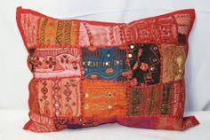 """RED VINTAGE THROW PILLOW CASE DECORATIVE  20""""x15"""" India Ethnic Home Decor N114"""