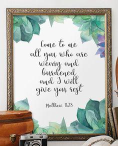 Christian poster Matthew 11:28 Scripture art by TwoBrushesDesigns