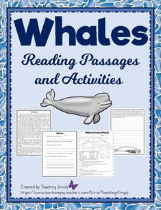 Teach students all about whales! Five whales are highlighted in this resource: humpback, narwhal, beluga, blue, and killer. There is a list of vocabulary words specific to this unit to help introduce it. Every reading passage has a follow-up worksheet and much more!  #Whales #OceanAnimals #ReadingPassages