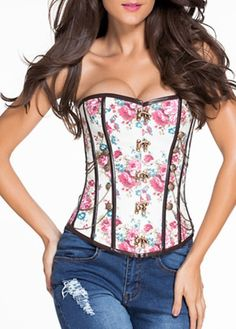 Lace Up Design Flower Print Strapless Corset on sale only US$36.71 now, buy cheap Lace Up Design Flower Print Strapless Corset at lulugal.com
